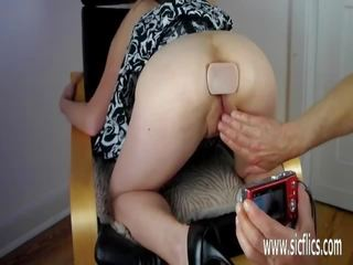 Submissive slut likes being toyed and getting that golden shower