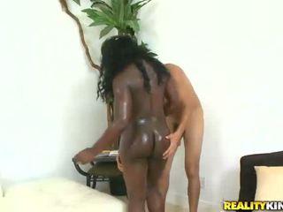 Sexy black chick Christine get a big white pecker