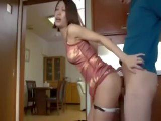 brunette, japanese, reverse cowgirl