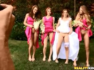 Pantyless bride and maids have fun