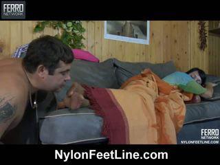 Horny guy awaking a sleepy babe
