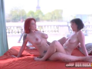 Hot Lesbians Mya Lorenn and Julie Share a Vibrator in