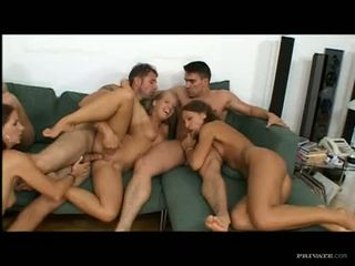 Juicy babe Angelina Crow begs to gets jizzed after a horny wild group fuck