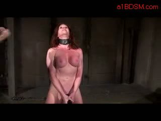 Busty Girl With Collar Walking Like Pet Whipped By Master Masturbating With Vibrator On The Floor In The Dungeon