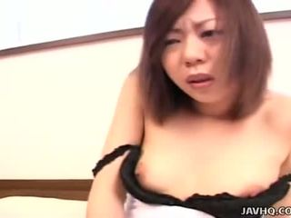Asian bitch slips a finger in her black lacy