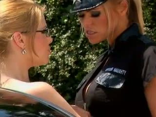 Lesbian Policewoman reprimands Driver