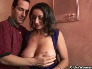 brunette, zien grote borsten, mooi pijpbeurt seks