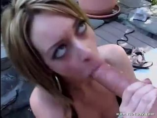 Sexy brunette Corina Taylor swallowing a huge thick hard dick outdoors
