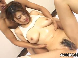 Desirable Japanese babe fucked with a thick dildo