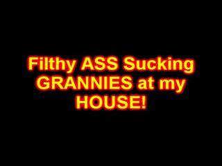 Filthy GRANNIES suck anal CREAM PIES
