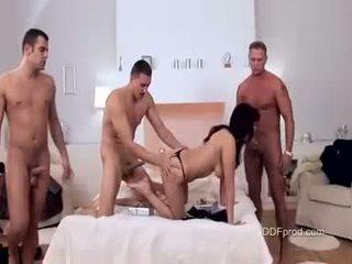 Reged babeh aisha san brutaly fucked with three big hard cocks