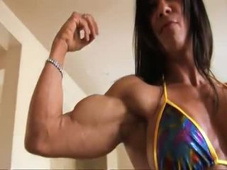 Perfect Fitness Muscle Woman Flexing Her Strong Ripped Biceps