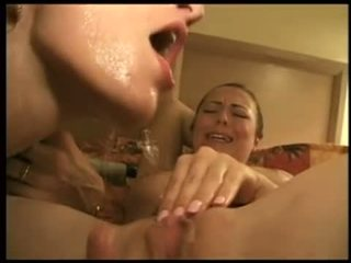 Squirt on lesbians face Video