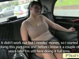 Barmfager britisk amatør bangs fake taxi driver i offentlig