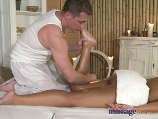 Massage Rooms Beautiful black girl enjoys big cock in her little hole