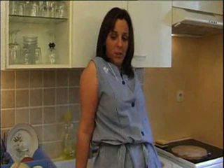 gros seins, femme de chambre, cuisine