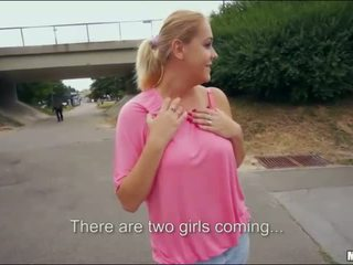 Blonde bombshell Paris Sweet public sex