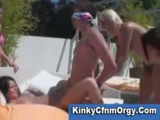 Reverse gangbang at swimmingpool