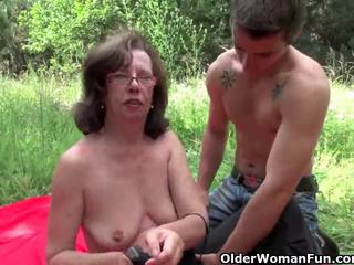Granny gets her asshole invaded outdoo...