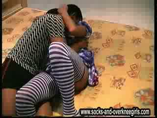 Overknee-girls fulldrunken banda bang jāšanās zeķes 14