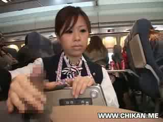 Stewardess forced hand job in plane