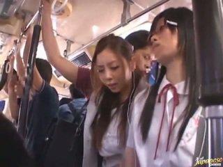 Shameless sesat cina females having funtime sekitar bananas di masyarakat bis