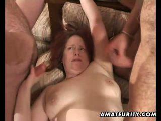 Mature amateur wife blowjob gangbang with facials