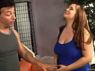 Crazy dude plays with very sexy chubby teen