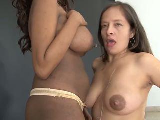 Seductive big nippled women milk drinking and showering