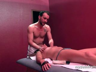 French milf hard anal fucked and facial in a massage room