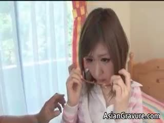 Cute Brunette Asian Teen Sucks Hard Dick