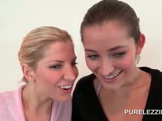 Splendid lesbian ballerinas touching s...