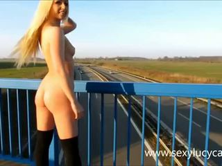 blondes, flashing, outdoors