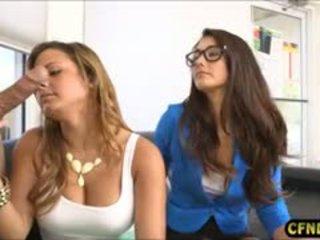 brunette, blowjob, cfnm