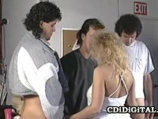 Samantha силен блондинки мадама смучене три cocks