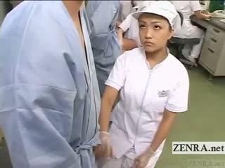 Subtitled apģērbta sievete kails vīrietis japāna prezervatīvs laboratory handjob pētniecība