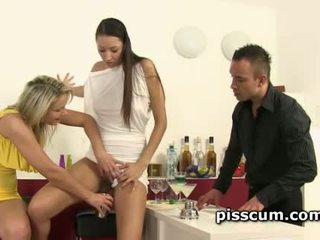 Piss hoes Samantha Jolie and Kitty Jane share cock