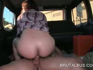 Natural amateur riding a hard shaft in the bus