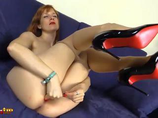 redheads, foot fetish, pantyhose