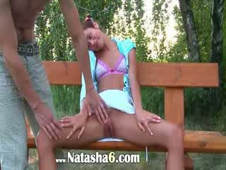 Czech chick couple fucking on a bench