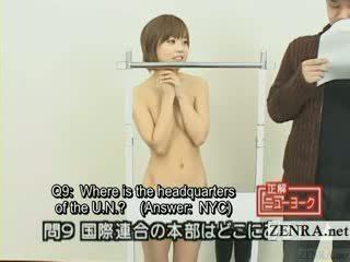 Subtitled 일본의 quiz 표시 와 나체 주의자 일본 학생