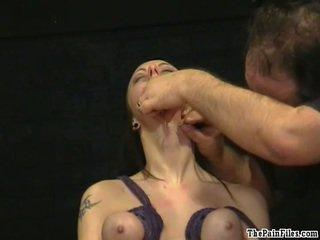 Brutal tit hanging bdsm of pierced slavegirl Emily