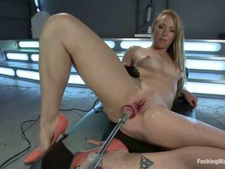 toys, fucking machine, shaved pussy