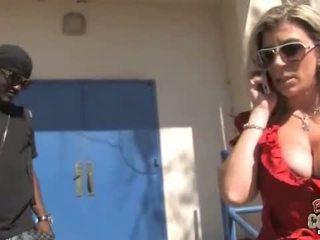 Cougar Sara Jay gets banged by a black dude
