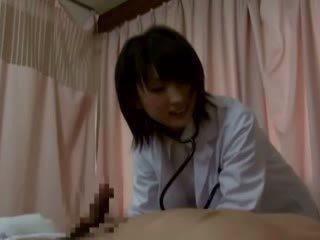 Hot jap nurse sucks on dong