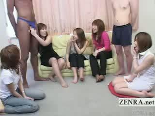 Subtitled bizar jap cfnm met ebony man in gstring