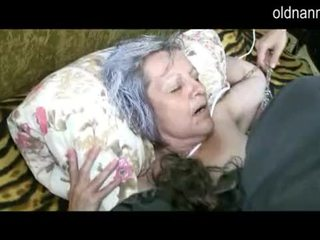 Old granny get pussy licked by young guy