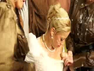 Bukakake bride gets banged by her bridesmaids in threesome