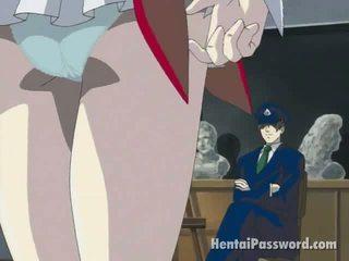 Dun brunette anime hotty stripping slipjes en masturberen nat poesje op de vloer
