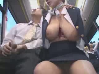 Tettona americano giovanissima tastata in giappone pubblico autobus video